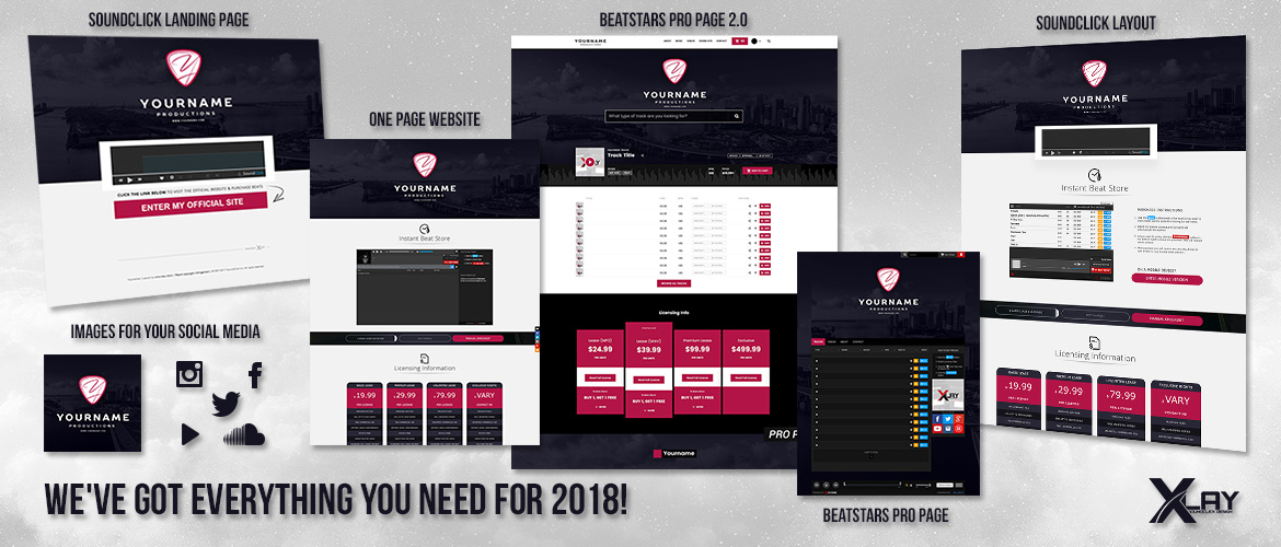 We have got everything you need for 2018 - Soundclick Beatstars Pro Page One Page Website Social Media Images