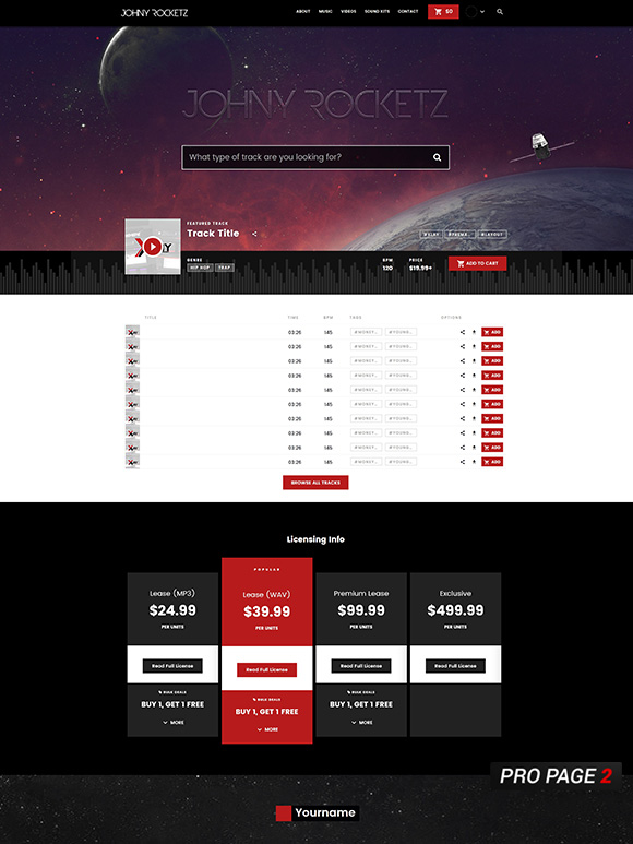 Custom Beatstars Pro Page 2.0 Design for Johny Rocketz