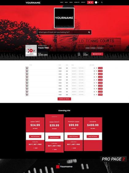 Premade Beatstars Pro Page 2.0 Layout 070