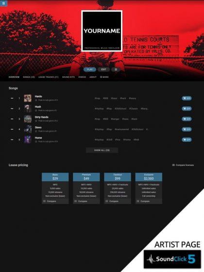 Soundclick Pro Page Layout #070