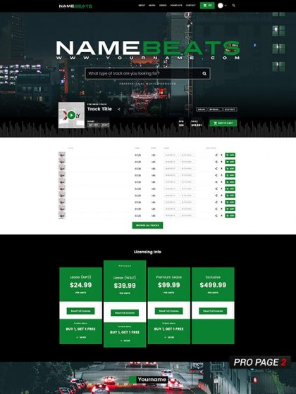 Premade Beatstars Pro Page 2.0 Layout 071