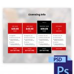 Premade Licensing Infos Table Photoshop PSD Template