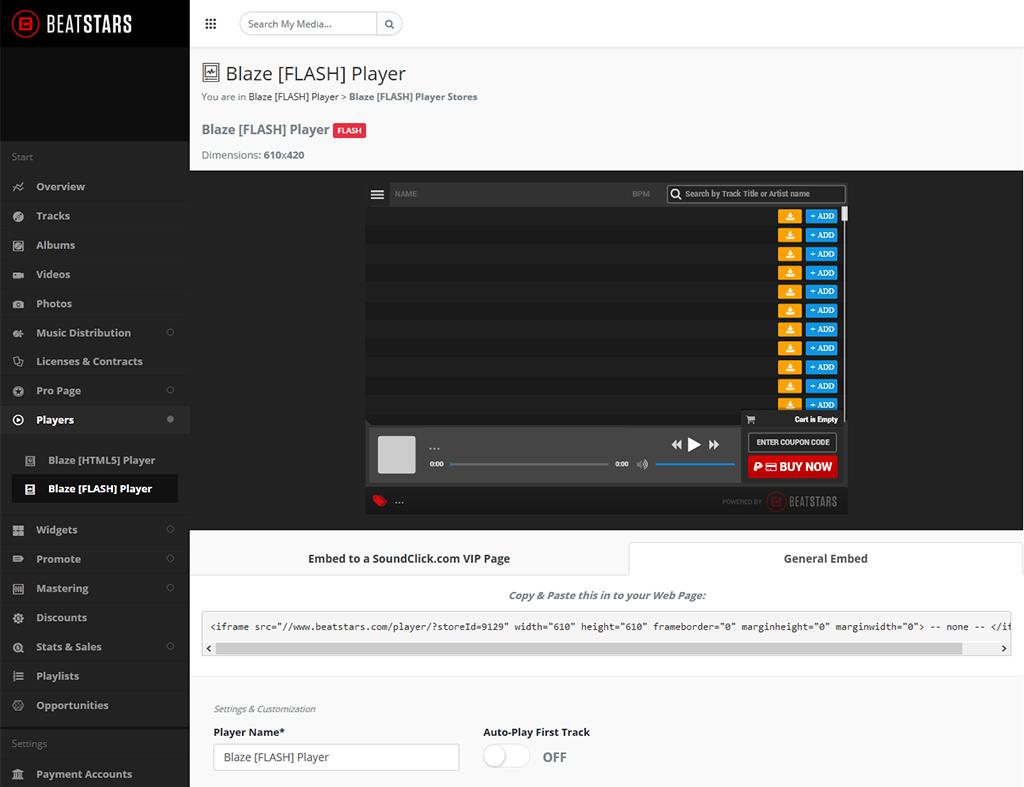 Copy paste Blaze [HTML5] Player Stores Codes